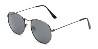 Angle of Averitt #3129 in Grey Frame with Grey Lenses, Women's and Men's Round Sunglasses