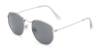 Angle of Averitt #3129 in Silver Frame with Grey Lenses, Women's and Men's Round Sunglasses