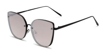Angle of Willow #3131 in Black Frame with Silver Mirrored Lenses, Women's Cat Eye Sunglasses