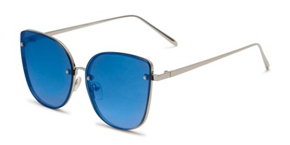 Angle of Willow #3131 in Silver Frame with Blue Mirrored Lenses, Women's Cat Eye Sunglasses