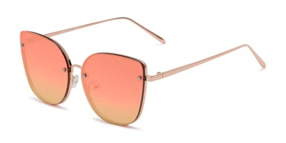 Angle of Willow #3131 in Rose Gold Frame with Orange Mirrored Lenses, Women's Cat Eye Sunglasses