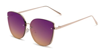 Angle of Willow #3131 in Gold Frame with Purple Mirrored Lenses, Women's Cat Eye Sunglasses