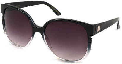 Angle of SW Oversized Round Style #1230 in Black/Clear Fade Frame, Women's and Men's