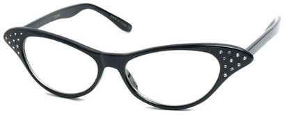 Angle of SW Clear Cat Eye Style #60 in Black Frame, Women's and Men's