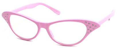 Angle of SW Clear Cat Eye Style #60 in Pink Frame, Women's and Men's