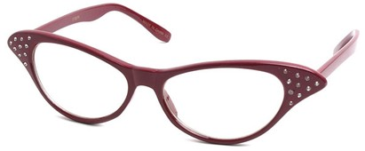 Angle of SW Clear Cat Eye Style #60 in Red Frame, Women's and Men's