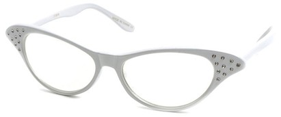 Angle of SW Clear Cat Eye Style #60 in White Frame, Women's and Men's