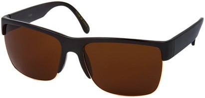 Angle of SW Retro Style #13455 in Black Frame with with Amber Lenses, Women's and Men's