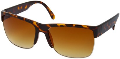 Angle of SW Retro Style #13455 in Brown Tortoise Frame with Amber Lenses, Women's and Men's