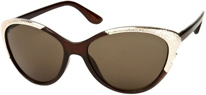 Angle of SW Cat Eye Style #1595 in Brown Frame, Women's and Men's