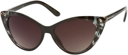 Angle of SW Animal Print Extreme Cat Eye Style #9105 in Black/Clear Cheetah Frame, Women's and Men's