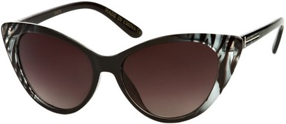 Angle of SW Animal Print Extreme Cat Eye Style #9105 in Black/Clear Tiger Frame, Women's and Men's