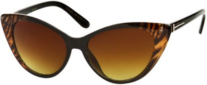 Angle of SW Animal Print Extreme Cat Eye Style #9105 in Brown/Black Tiger Frame, Women's and Men's