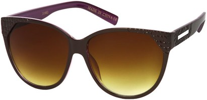 Angle of SW Cat Eye Style #9125 in Brown/Purple Frame, Women's and Men's