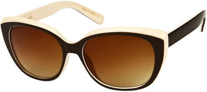 Angle of SW Two-Tone Cat Eye Style #543 in Brown/Cream Frame, Women's and Men's
