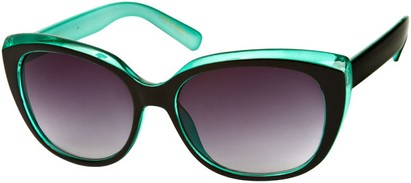 Angle of SW Two-Tone Cat Eye Style #543 in Black/Turquoise Frame, Women's and Men's