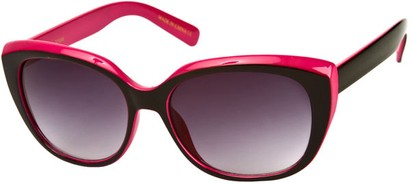 Angle of SW Two-Tone Cat Eye Style #543 in Black/Pink Frame, Women's and Men's