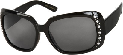 Angle of SW Polarized Rhinestone Style #1365 in Black Frame with Smoke Lenses, Women's and Men's
