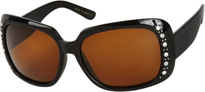 Angle of SW Polarized Rhinestone Style #1365 in Black Frame with Amber Lenses, Women's and Men's