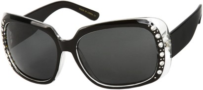 Angle of SW Polarized Rhinestone Style #1365 in Black/Clear Frame with Smoke Lenses, Women's and Men's