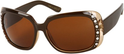 Angle of SW Polarized Rhinestone Style #1365 in Brown/Clear Frame with Amber Lenses, Women's and Men's