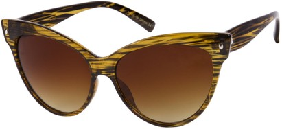Angle of SW Cat Eye Style #9947 in Yellow Stripe Frame, Women's and Men's