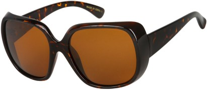Angle of SW Polarized Oversized Style #4270 in Brown Tortoise Frame with Amber Lenses, Women's and Men's