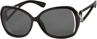 Angle of Uptown #1392 in Black Frame with Grey Lenses, Women's Round Sunglasses