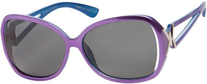 Angle of Uptown #1392 in Purple/Blue Frame with Grey Lenses, Women's Round Sunglasses