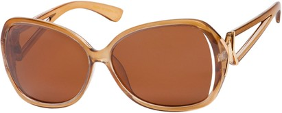 Angle of Uptown #1392 in Brown Frame with Amber Lenses, Women's Round Sunglasses