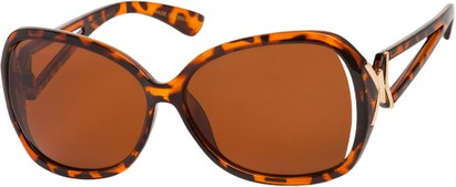 Angle of Uptown #1392 in Tortoise Frame with Amber Lenses, Women's Round Sunglasses