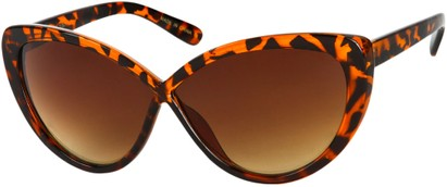 Angle of SW Cat Eye Style #6815 in Brown Tortoise Frame with Amber Lenses, Women's and Men's