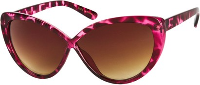 Angle of SW Cat Eye Style #6815 in Pink Tortoise Frame with Amber Lenses, Women's and Men's