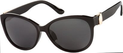 Angle of SW Polarized Cat Eye Style #2412 in Black Frame with Grey Lenses, Women's and Men's