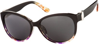 Angle of SW Polarized Cat Eye Style #2412 in Black/Purple Floral Frame with Grey Lenses, Women's and Men's