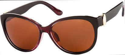 Angle of SW Polarized Cat Eye Style #2412 in Black/Red Fade Frame with Amber Lenses, Women's and Men's