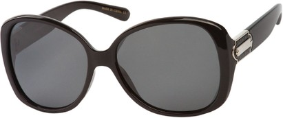 Angle of SW Polarized Oversized Style #862 in Black Frame with Smoke Lenses, Women's and Men's