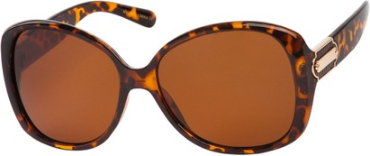 Angle of SW Polarized Oversized Style #862 in Tortoise Frame with Amber Lenses, Women's and Men's