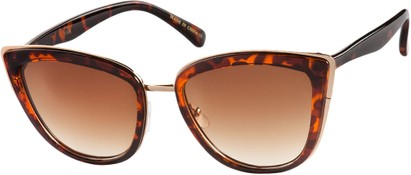 Angle of SW Cat Eye Style #2465 in Tortoise/Gold Frame with Amber Lenses, Women's and Men's