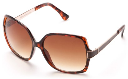 Angle of Morocco #3201 in Brown Tortoise and Gold Frame with Amber Lenses, Women's Square Sunglasses