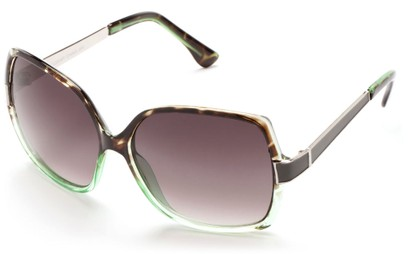 Angle of Morocco #3201 in Green Tortoise and Silver Frame with Smoke Lenses, Women's Square Sunglasses
