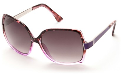 Angle of Morocco #3201 in Purple Tortoise and Silver Frame with Smoke Lenses, Women's Square Sunglasses