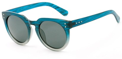 Angle of Laguna #3203 in Blue Fade Frame with Grey Lenses, Women's Round Sunglasses