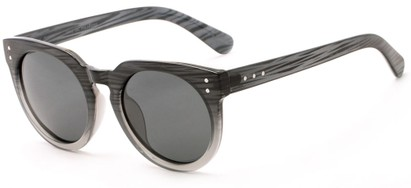 Angle of Laguna #3203 in Black Fade Frame with Grey Lenses, Women's Round Sunglasses