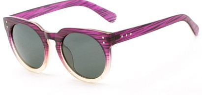 Angle of Laguna #3203 in Pink Fade Frame with Grey Lenses, Women's Round Sunglasses