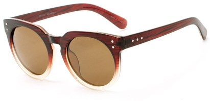 Angle of Laguna #3203 in Red Fade Frame with Amber Lenses, Women's Round Sunglasses