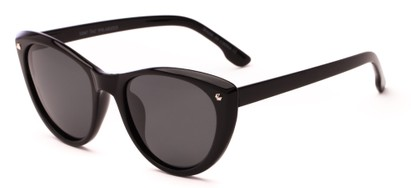 Angle of Dove #3208 in Black Frame with Grey Lenses, Women's Cat Eye Sunglasses