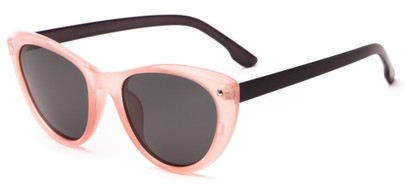 Angle of Dove #3208 in Pink/Grey Frame with Grey Lenses, Women's Cat Eye Sunglasses