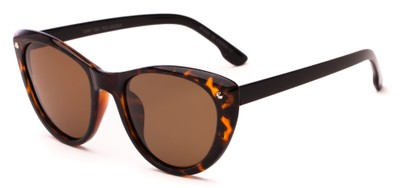 Angle of Dove #3208 in Tortoise/Black Frame with Amber Lenses, Women's Cat Eye Sunglasses