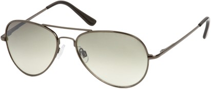 Angle of Sundown #3220 in Grey Frame with Green Lenses, Women's and Men's Aviator Sunglasses